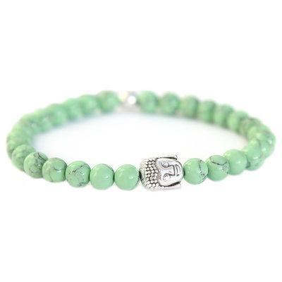 Buddha armband sage green stone