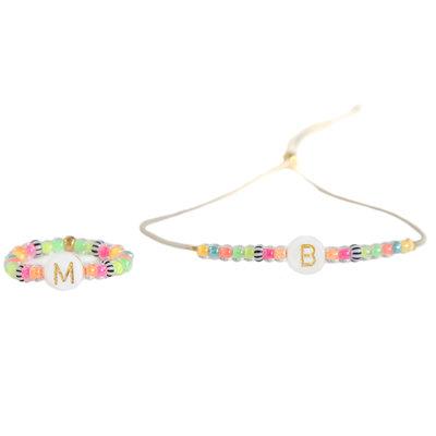 SET - Letter armbandje & letter ring Ibiza summer