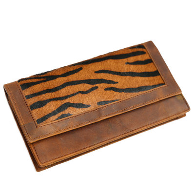 Lederen vacht portemonnee dark zebra
