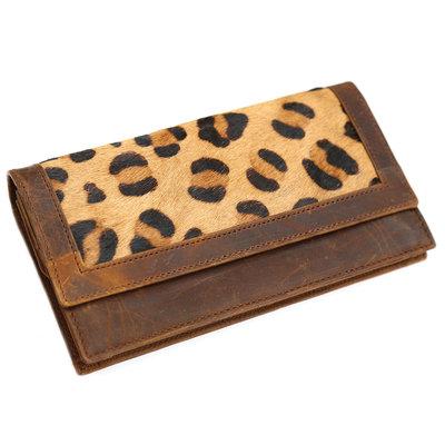 Lederen vacht portemonnee leopard