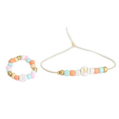 SET - Letter armbandje & letter ring summer