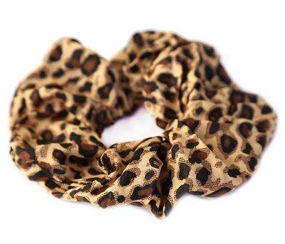 Cotton scrunchie luipaard bruin