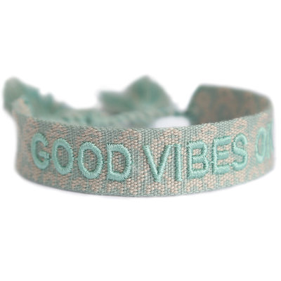 Geweven armband good vibes only mint