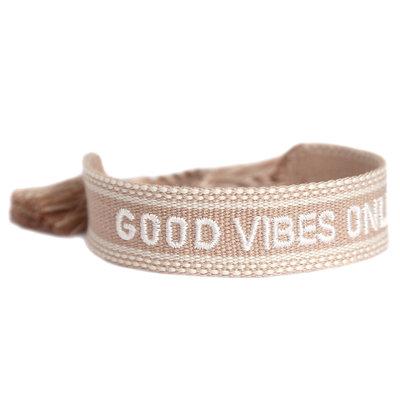 Geweven armband good vibes only sand