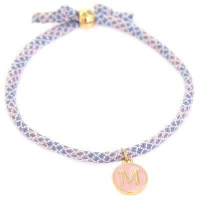 Initiaal armband lila