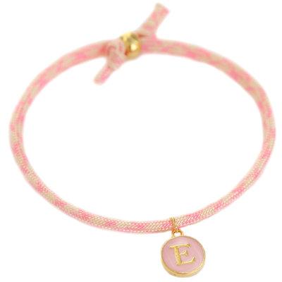 Initiaal armband soft pink