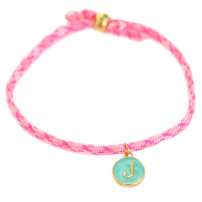 Initiaal armband hot pink