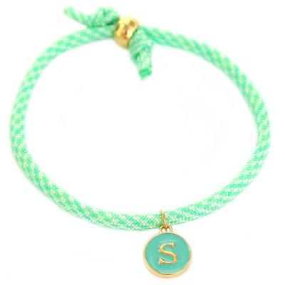 Initiaal armband mint