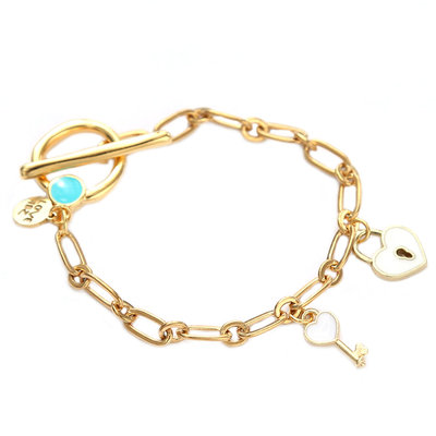 Armband key to your heart white gold