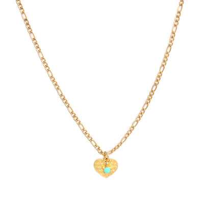 Ketting heart gold turquoise star