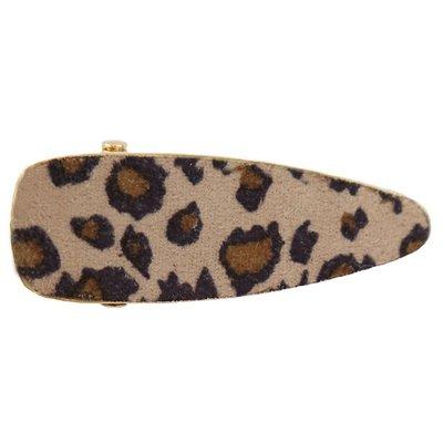 Statement haarclip velvet leopard beige