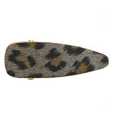 Statement haarclip velvet leopard grey