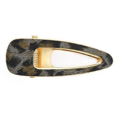 Statement haarclip velvet leopard open grey