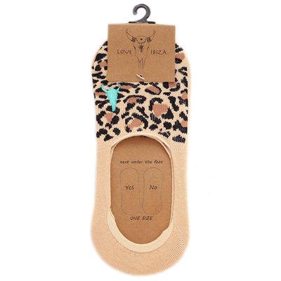 Sneakersokken leopard beige