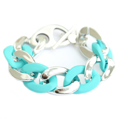 Armband large chain silver turquoise