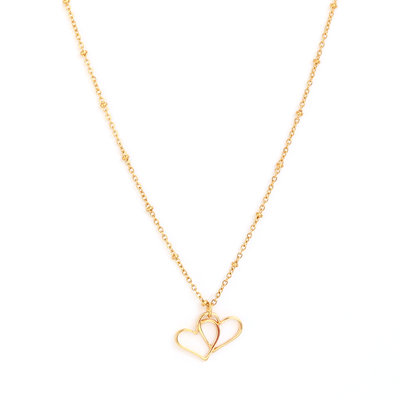 Ketting Double heart gold