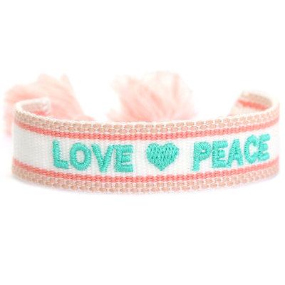 Geweven armband love & peace