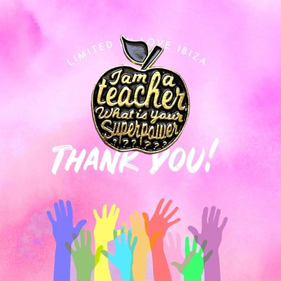 Pin it up emaille pins thank you teacher black