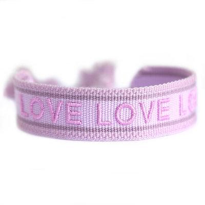 Geweven armband lilac LOVE