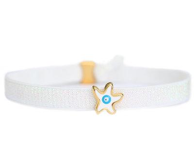 Enkelbandje white star turquoise eye