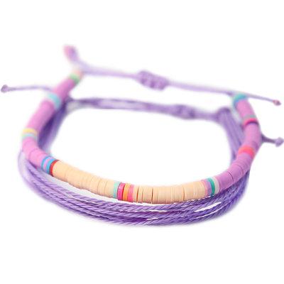Set van 2 armbandjes purple surf