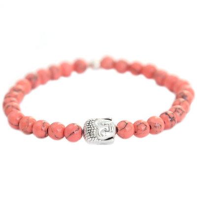 Buddha armband coral stone