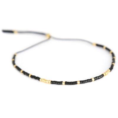 Miyuki armband zwart