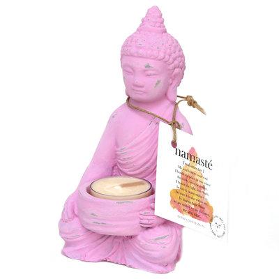 Buddha theelichthouder pink