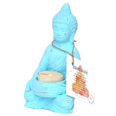 Buddha theelichthouder turquoise