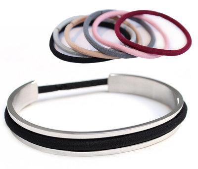 Haarelastiek armband silver