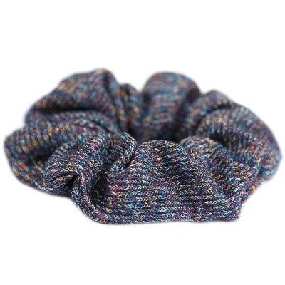 Scrunchie knitted blue glitter