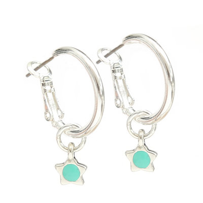 Oorbel turquoise star silver
