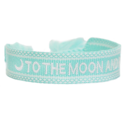 Geweven armband to the moon and back mint