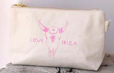 Make up tasje Love Ibiza pink
