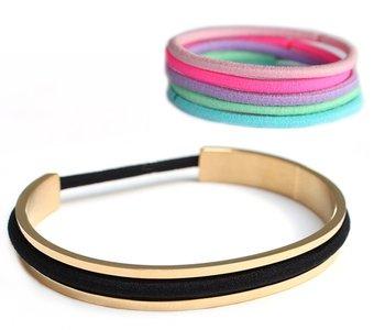 Haarelastiek armband goud