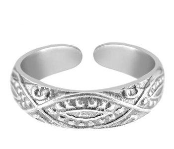 Midi pink ring real silver