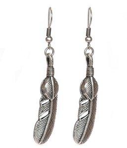 Earrings feather silver