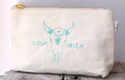Make up tasje Love Ibiza turquoise