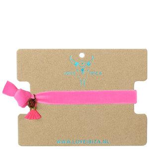 Velvet armbandje - pink