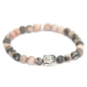 Bracelet buddha rose grey melee