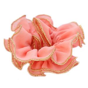Scrunchie coral gold thread