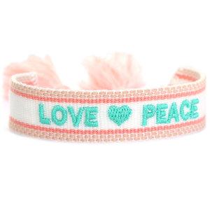 Geweven armband Love en Peace
