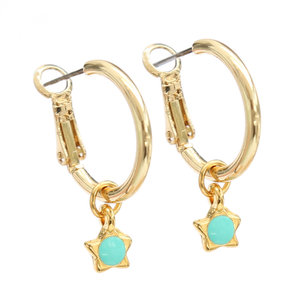 Oorbel turquoise star gold