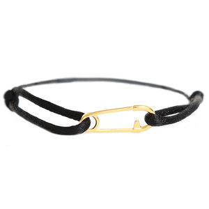 Safety pin bracelet zwart goud